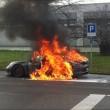 Porche 911 GT3, l'ultimo incendio (foto Ansa)