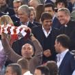 Roma-Bayern: Antonio Conte e Padre Georg in tribuna insieme 02