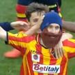 Lecce-Benevento, Papini esulta con la barba di Moscardelli 02