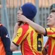 Lecce-Benevento, Papini esulta con la barba di Moscardelli 01