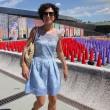 SAgnese Renzi madrina a Pitti Bimbo: abito azzurro e linguaccia FOTO
