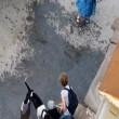 pitbull aggredisce labrador, donna lo colpisce con pala e libera il cane4