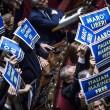 Ban Ki Moon alla Camera, cartelli Forza Italia Marò liberi4