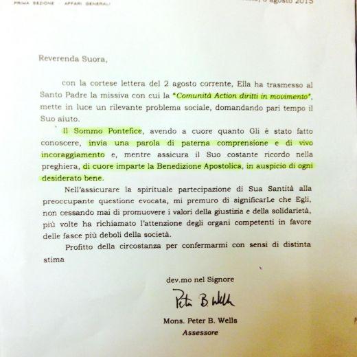 "Papa Francesco scrive a ""Tarzan"" Andrea Alzetta 2"