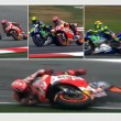 Lo scontro tra Valentino Rossi e Marquez (foto Ansa)