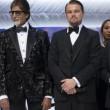 Da sinistra Audrey Tautou, Amitabh Bachchan, Leonardo Di Caprio e Steven Spielberg