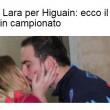 Gonzalo Higuain bacio con Lara Wechsler FOTO