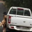 YOUTUBE Cane appeso per il collo trascinato da furgoncino