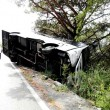 Vesuvio, autobus con 35 turisti esce di strada: in bilico su un dirupo2