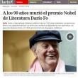"""Dario Fo, Grillo: """"Sarai sempre con noi"""""""