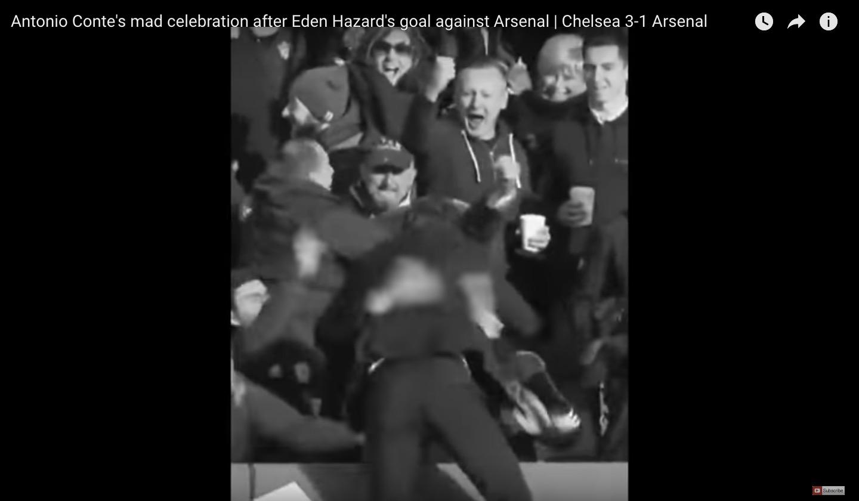 Antonio Conte, video esultanza pazza dopo gol di Hazard in Chelsea-Arsenal 3-1