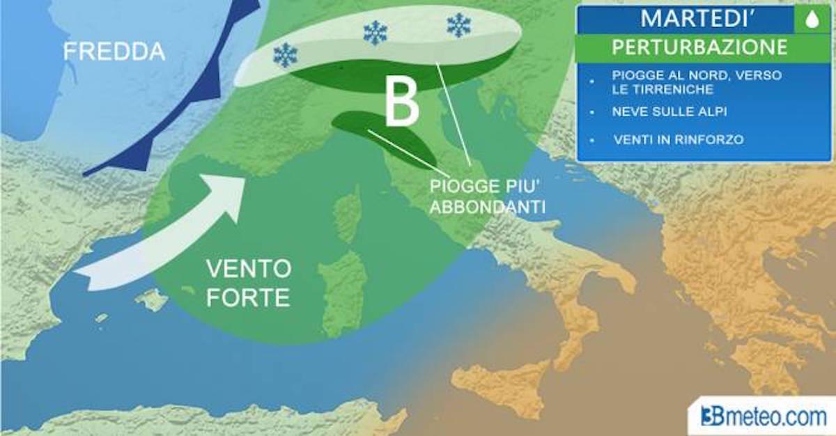Previsioni meteo: martedì pioggia, vento e neve. Poi il sole, ma durerà poco
