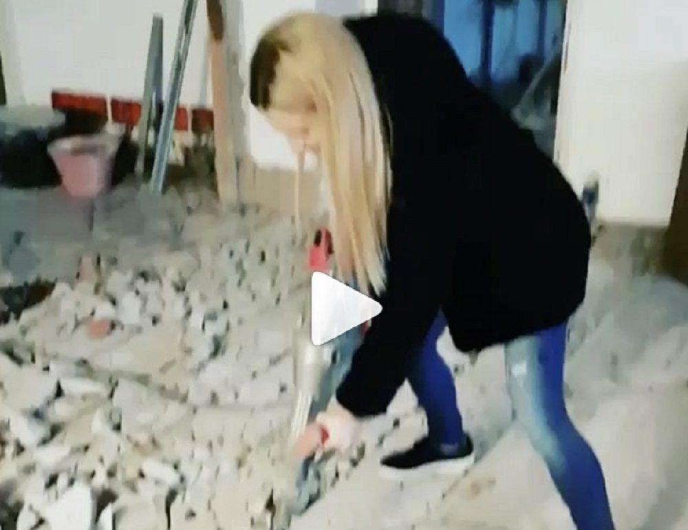 Michele Hunziker col martello pneumatico...che fa? VIDEO Instagram