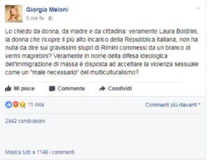 Il post su Facebook di Giorgia Meloni contro Laura Boldrini sugli stupri a Rimini