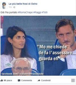 Francesco Totti e Virginia Raggi insieme in tribuna: è ironia sui social