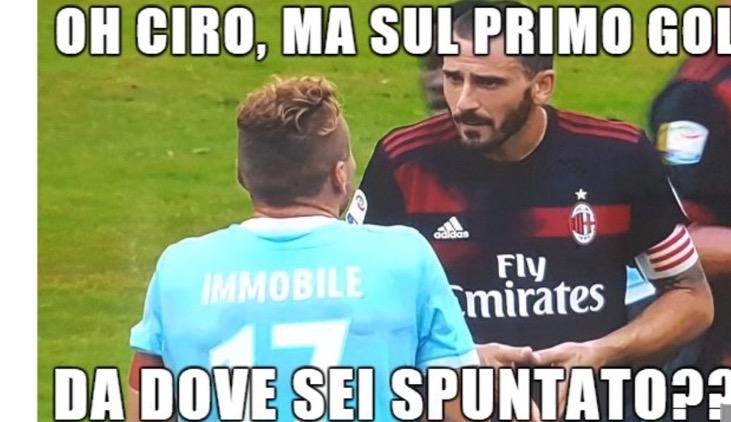 Lazio-Milan, ironia social su Bonucci: vignette con Immobile e Allegri