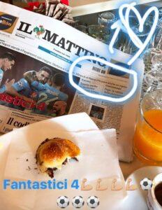 Yolanda Ruiz, moglie Reina festeggia rigore parato con maxi colazione