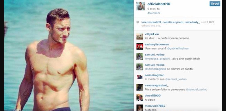 Francesco Totti spopola su Instagram: ha più fan di Roma e Lazio