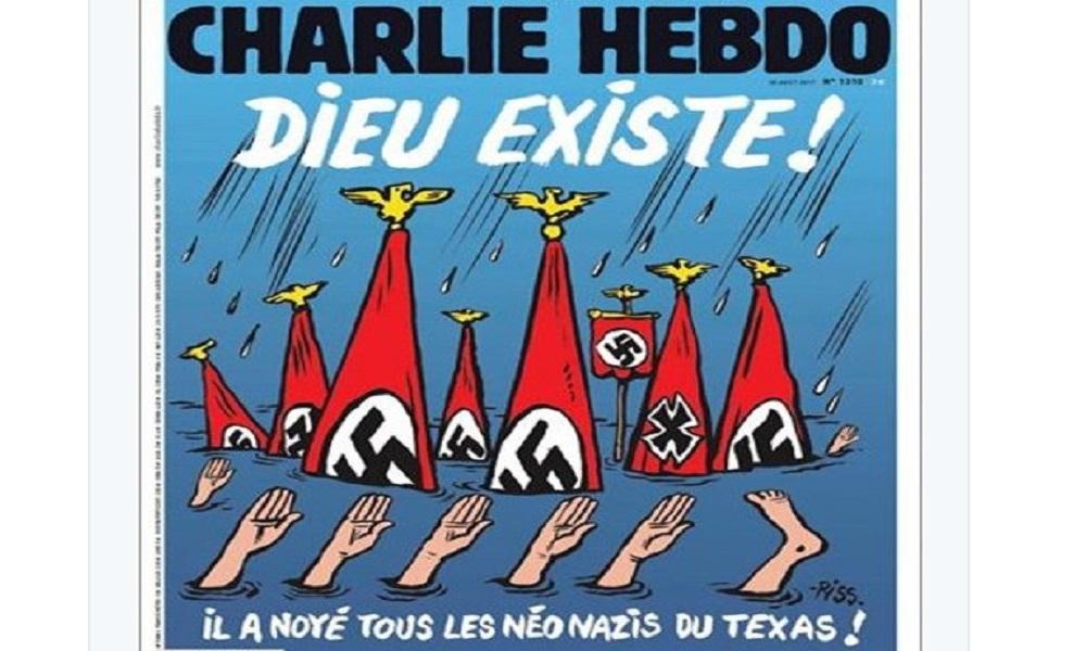 """Charlie Hebdo, la copertina sull'uragano Harvey: """"Dio esiste. Ha annegato i neonazisti in Texas"""" FOTO"""