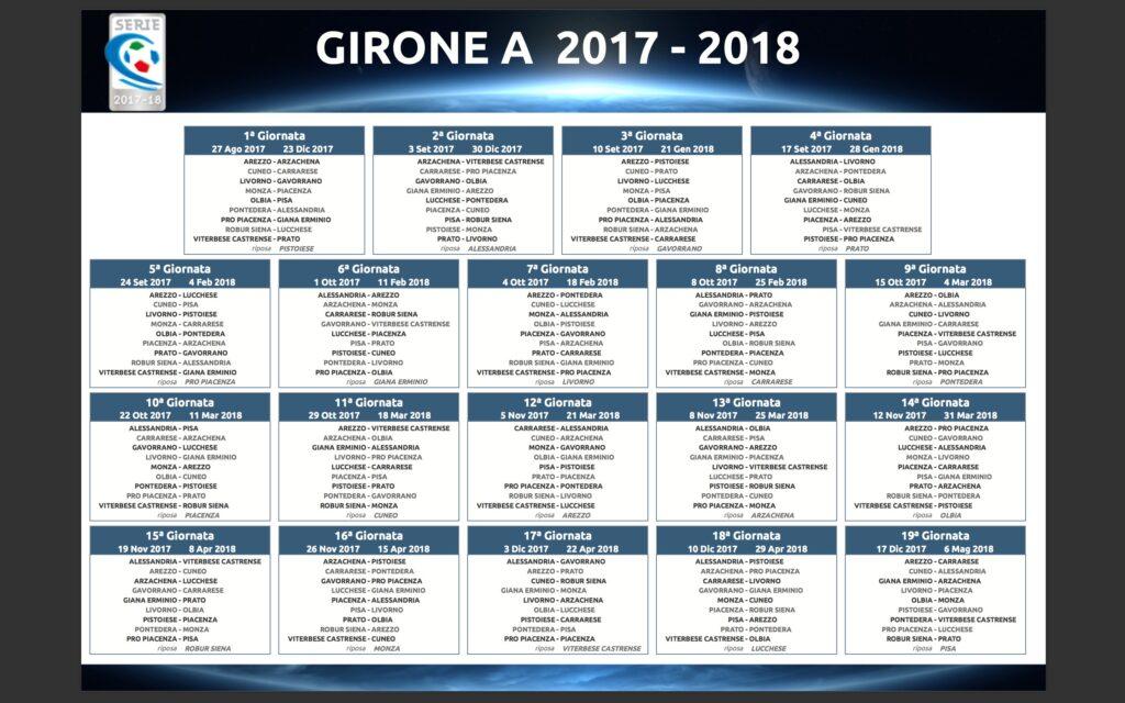 Pisa Calendario.Classifica Girone A Serie C I Risultati E Il Calendario 2017 18