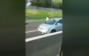 VIDEO Cammina in mezzo alla tangenziale di Milano e si sdraia davanti al camion