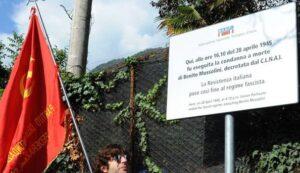 Giulino di Mezzegra (Co): bruciata targa ricordo della fucilazione di Mussolini