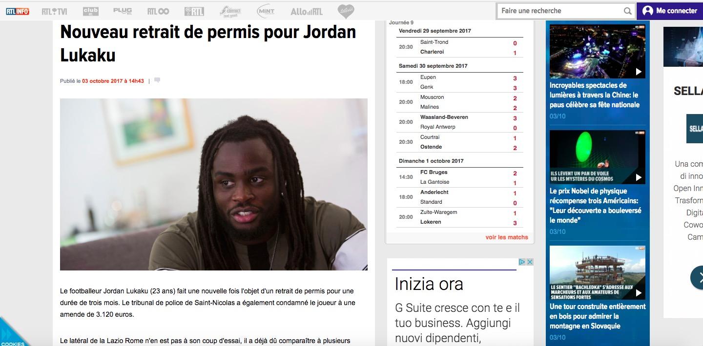 Lazio, Jordan Lukaku nei guai: nuovo ritiro della patente e maxi multa