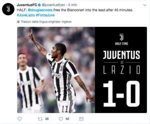 Juventus-Lazio 1-0 diretta, highlights: Douglas Costa video gol