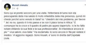 Il post del ghanese che si è scontrato con un'infermiera razzista