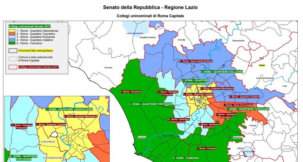 Roma: la mappa dei collegi uninominali del Senato