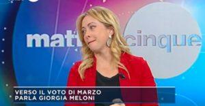 Giorgia Meloni commossa in diretta tv