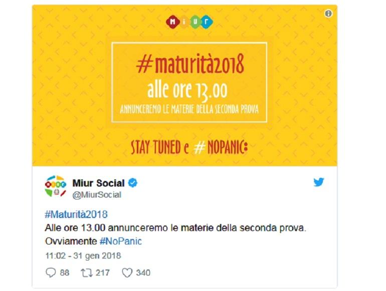 Il tweet del Miur conferma: oggi alle 13 verranno rese note le materie della seconda prova