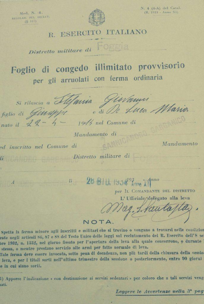Servizio militare, FOTO congedo illimitato Regio Esercito Italiano (1934)