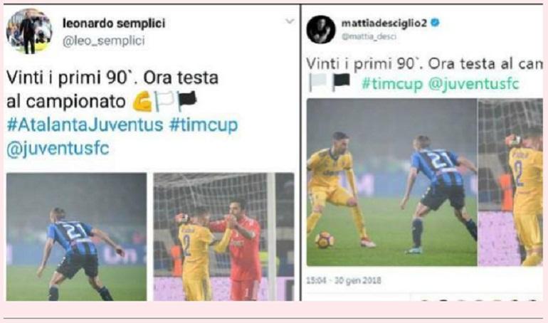 """I tweet """"gemelli"""" dell'allenatore della Spal Semplici e del terzino della Juventus Mattia De Sciglio (foto Ansa)"""