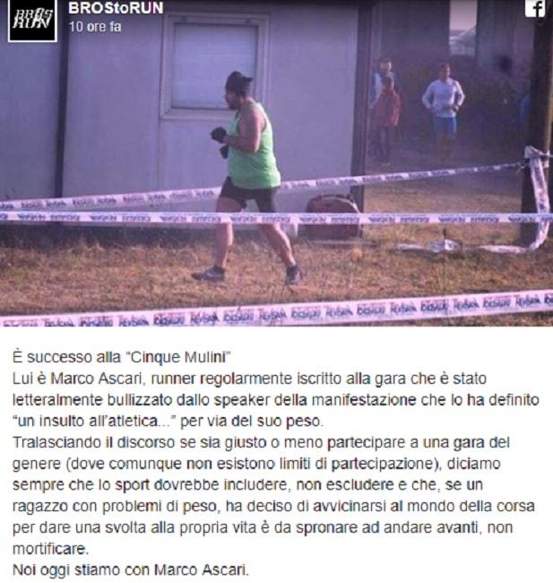 """In sovrappeso partecipa alla corsa, speaker lo deride: """"Insulto all'atletica"""""""