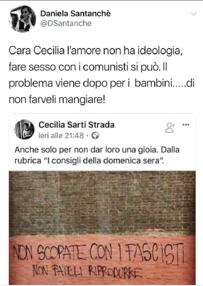 """Cecilia Strada su Fb: """"Non sc... con i fascisti. Non fateli riprodurre"""". La Santanchè risponde così"""