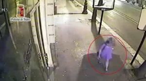Un frame del video girato dalle telecamere di sicurezza
