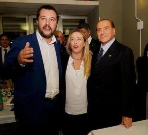 Matteo Salvini, Giorgia Meloni e Silvio Berlusconi (foto Ansa)