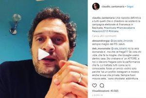 Claudio Santamaria nel video Instagram di appoggio a Francesca Barra e criticato da M5s