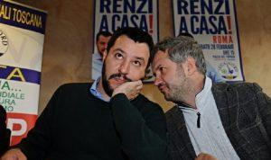 Matteo Salvini e Claudio Borghi (foto Ansa)