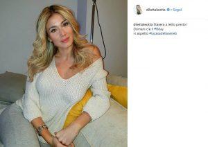 La foto di Diletta Leotta prima che va a letto, per prerararsi al meglio alla Serie A