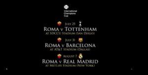 International Champions Cup 2018: Roma con Real Madrid e Barcellona