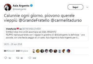 Grande Fratello, Asia Argento annuncia querela contro Filippo Contri