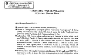 Giuseppe Conte, il curriculum presentato alla Camera nel 2013