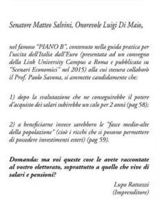 """Lupo Rattazzi compra pagina su Repubblica: """"Di Maio e Salvini, avete spiegato ai vostri elettori il Piano B?"""""""
