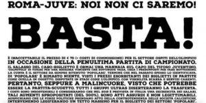 """Roma-Juventus, caro biglietti: Curva Sud """"Gaetano Scirea"""" protesta"""