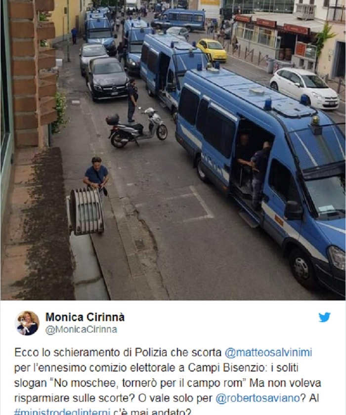 Monica Cirinnà posta FOTO mega scorta Salvini