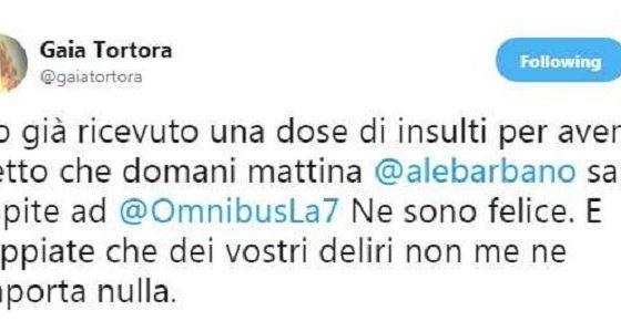 Gaia Tortora insultata per aver ospitato a Omnibus Alessandro Barbano