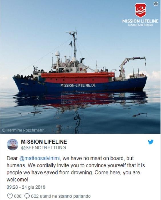 Lifeline, tweet Salvini