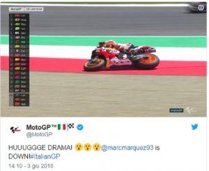 MotoGp Italia Mugello, Marc Marquez scivola sulla ghiaia